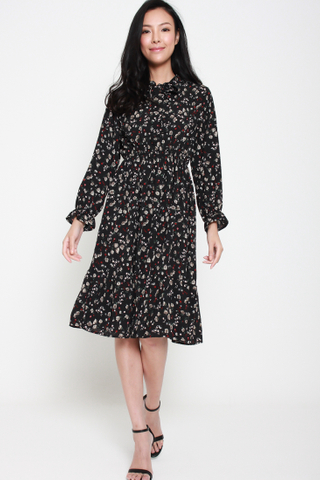 Disco Fever Long Sleeved Dress in Floral