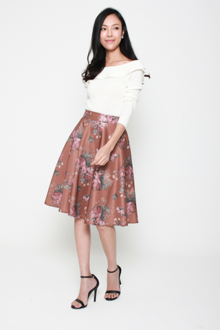 Floral Conquers All Swing Skirt in Chocolate