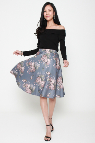 Floral Conquers All Swing Skirt in Periwinkle