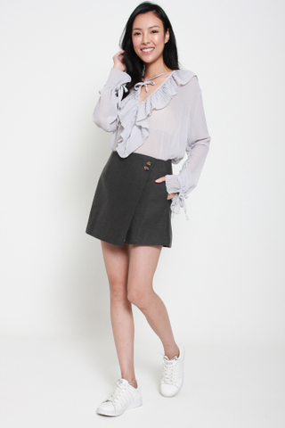 Frill of the Chase Loose Chiffon Top in Grey