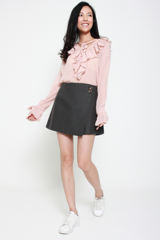 Frill of the Chase Loose Chiffon Top in Rose