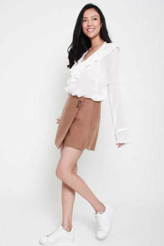 Frill of the Chase Loose Chiffon Top in White