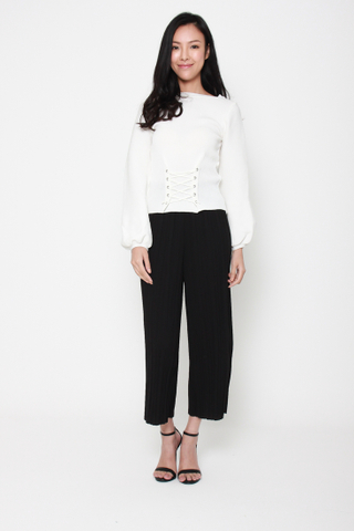 Let Knit Go Puffy Sleeve Lace Front Sweater in White