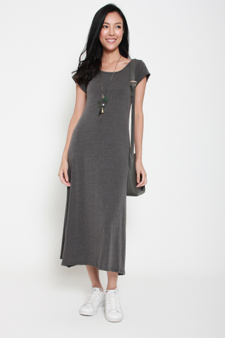 Model's Staple Cap Sleeve Maxi Dress in Grey