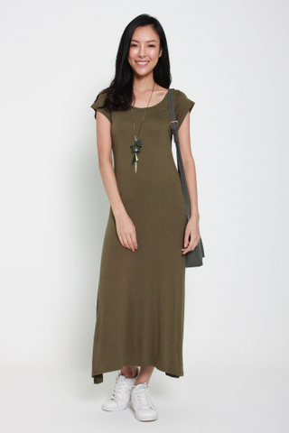 Model's Staple Cap Sleeve Maxi Dress in Olive