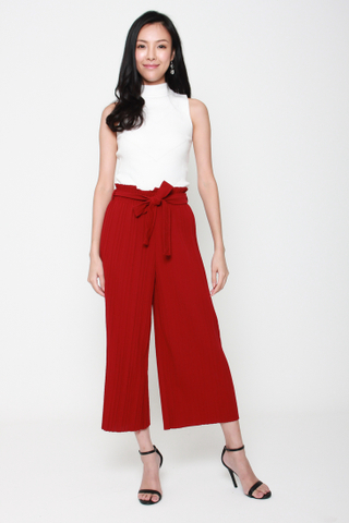 Pretty Pleats Wide Leg Culottes in Red
