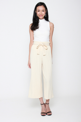 Pretty Pleats Wide Leg Culottes in Vanilla