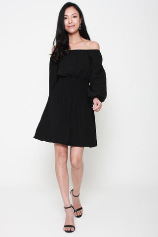 Swing Along Off The Shoulder Dress in Black