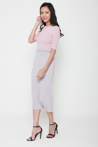 As You Pleat Midi Skirt in Grey