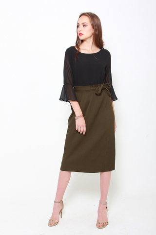 As You Pleat Midi Skirt in Olive