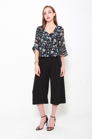 Go with the Flow Chiffon Top in Black