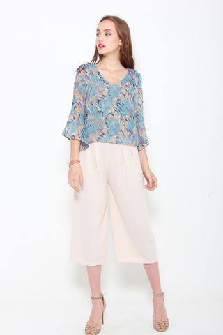 Go with the Flow Chiffon Top in Feather