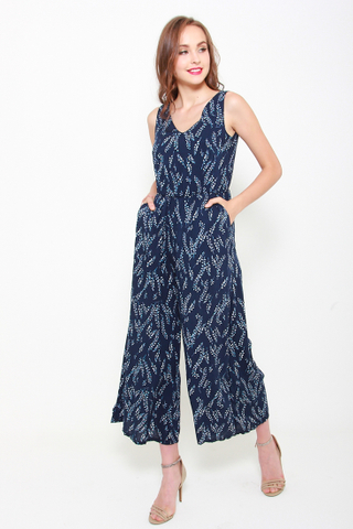 Jump Straight In Jumpsuit in Navy
