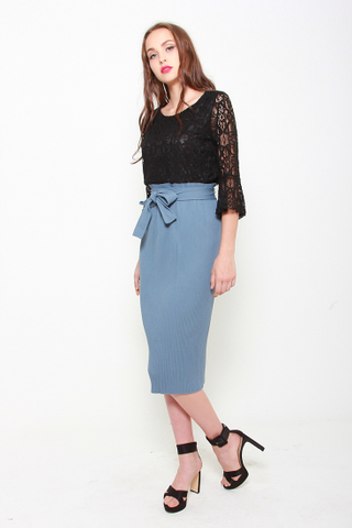 As You Pleat Midi Skirt in Periwinkle