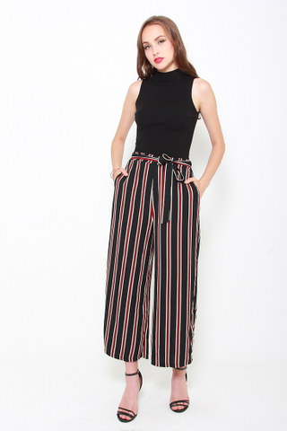 Slit By Slit Wide Leg Culottes in Dark Stripes