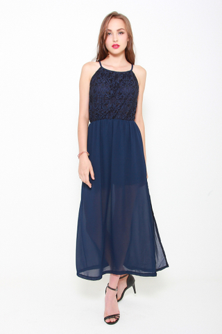 Slit or Miss Lace Maxi Dress in Navy