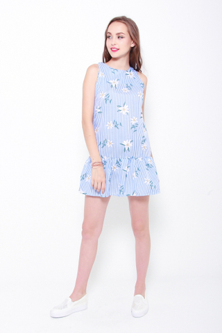 Summer Tropics Drop Hem Dress in Light Blue