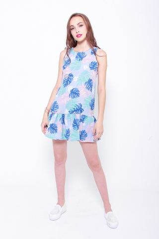 Summer Tropics Drop Hem Dress in Palm Prints