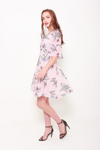 Wrap This Up Dress in Rose Florals