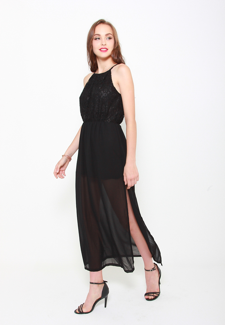 Slit Or Miss Lace Maxi Dress In Black