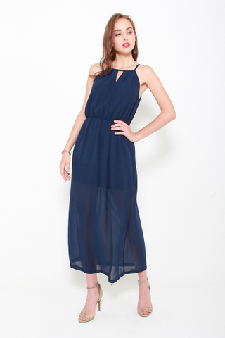 Take a Cut Maxi Dress in Navy