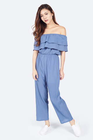Flou Flou Layered Playsuit in Blue