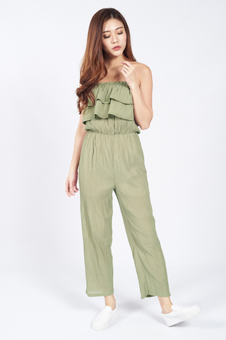 Flou Flou Layered Playsuit in Green