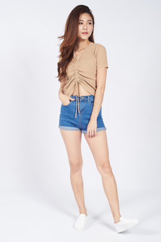 Elly Ruched Blouse in Biege