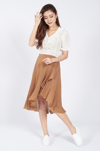 Lana Waterfall Skirt in Brown