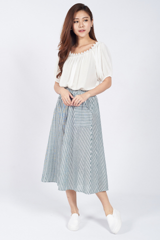 Mais Stripe Midi Skirt in Green