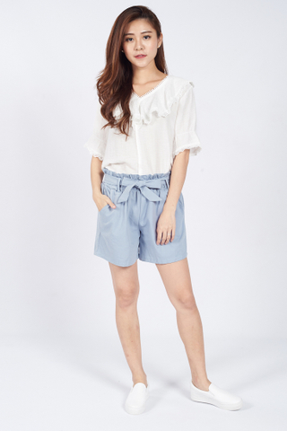 Mialle Tie Front Shorts in Blue