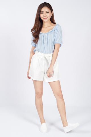 Thara Embroidered Top in Pastel Blue