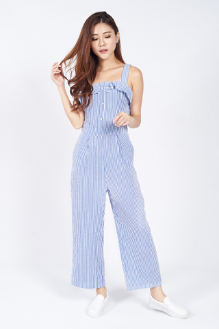 Jeana Stripped Button down Jumpsuit