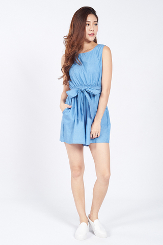 Cloe Tie Front Playsuit in Light Blue