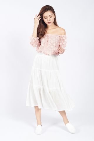 Mitsu Flowery Off Shoulder Top in Pastel Pink