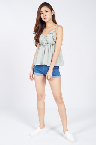 Herria Ruffles Babydoll Top in Grey