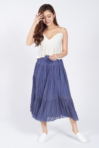 Giaia Tier Maxi Skirt in Purple
