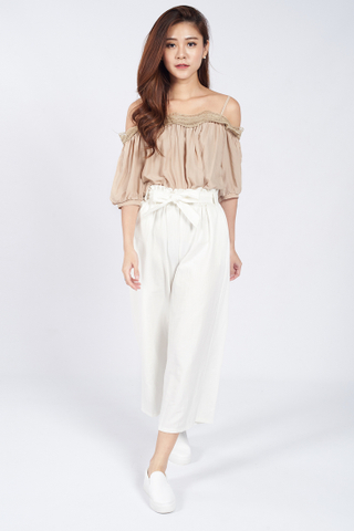 Dianela Tie Back Culottes in White