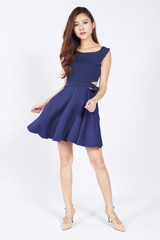 Asymmetrical Tie Front Dress in Navy