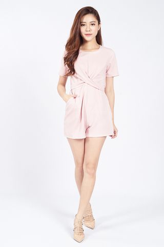 Front Twist Playsuit in Pink