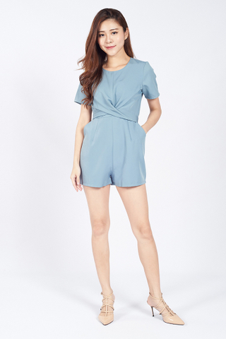 Front Twist Playsuit in Blue
