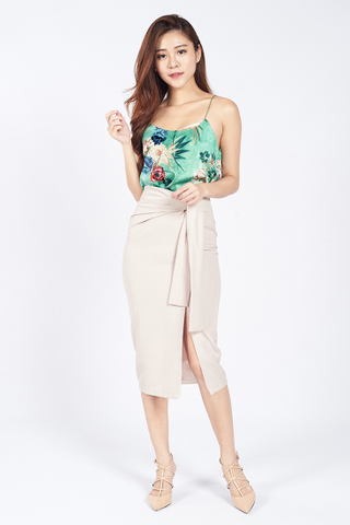 Front Tie Slit Pencil Skirt in Biege