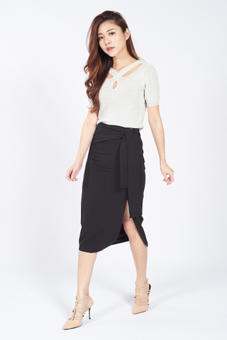 Front Tie Slit Pencil Skirt in Black