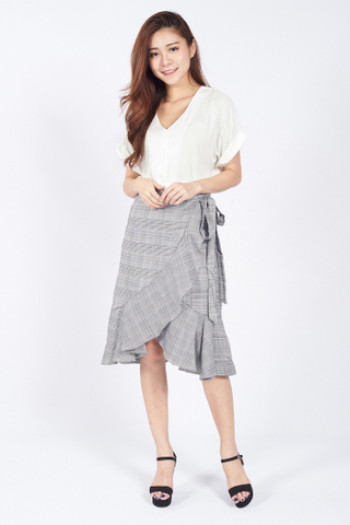 Midi Wrapped Waterfall Plaid Skirt in Grey