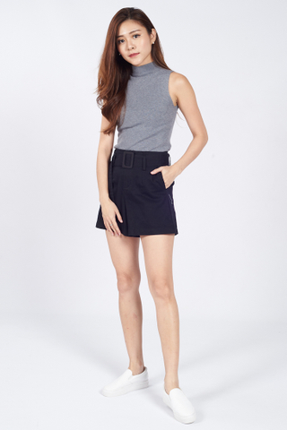 High Neck Sleevless Knit Top in Grey