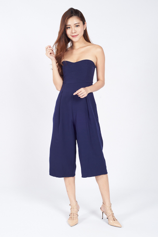 Bustier Tube Jumpsuit in Navy