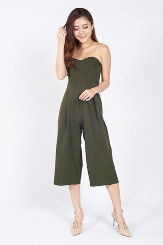 Bustier Tube Jumpsuit in Green