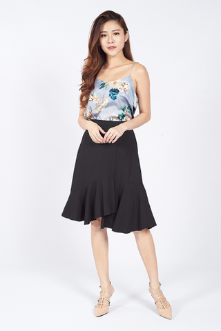 Asymmetrical Mermaid Skirt in Black