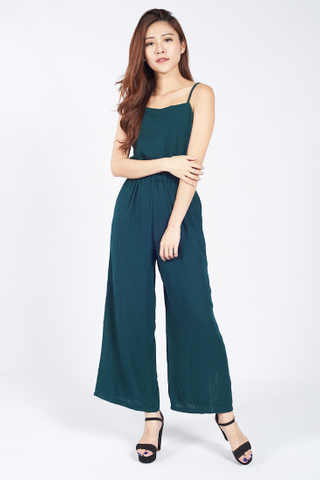 Gathered Spaghetti Jumpsuit in Forest Green