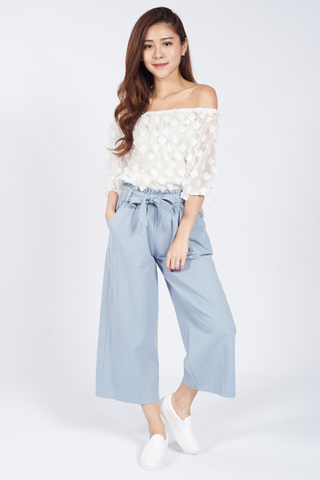Mitsu Flowery Off Shoulder Top in White